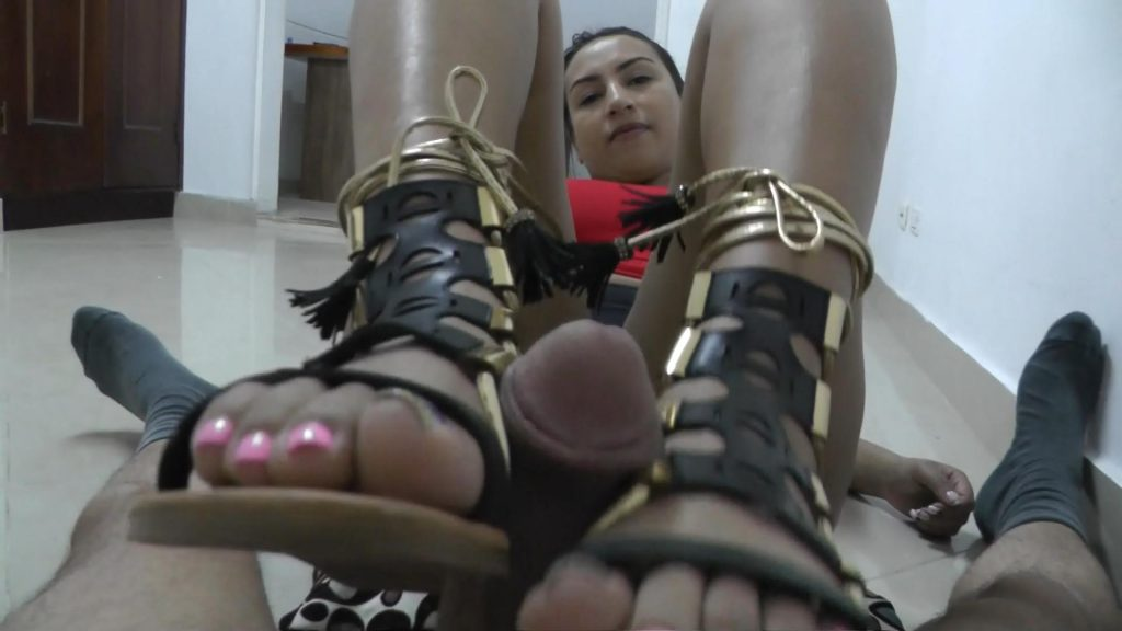 Flat Strappy Sandals Footjob – Latin Domination Goddesses
