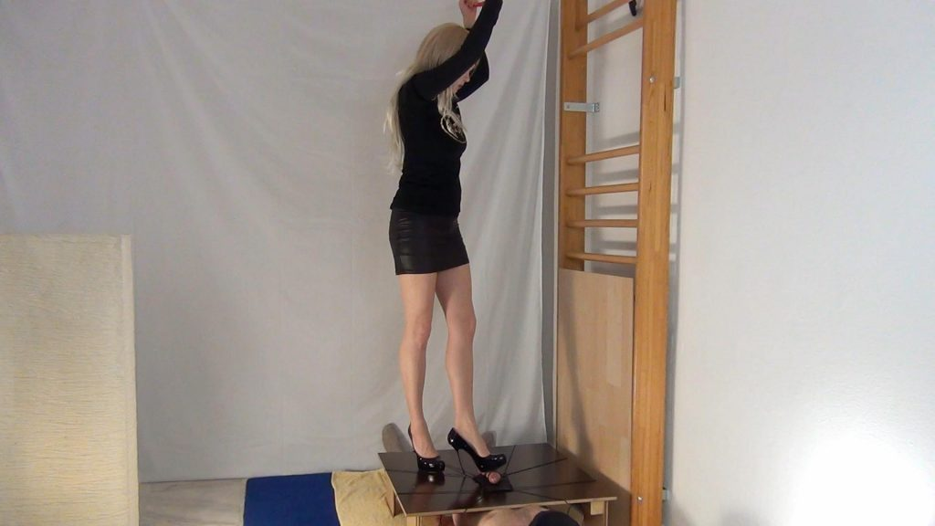 Ballbusting And Climax Dance In Steel High Heels