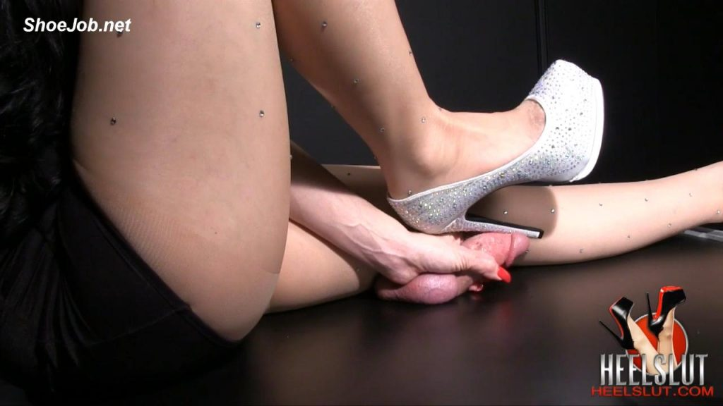 Silver Sparkle Shoejob – Heel Slut