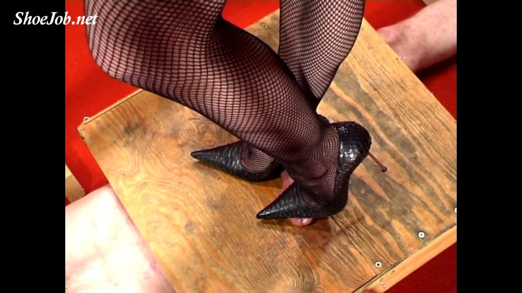 Legs, GML stilettos and fishnets POV on a cock – Cock Crushing Shoejobs