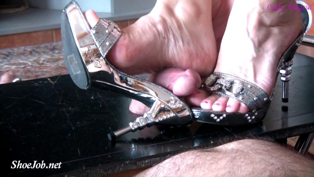 Cum On My Silver Mules – Lady Alegria`s Footfetish