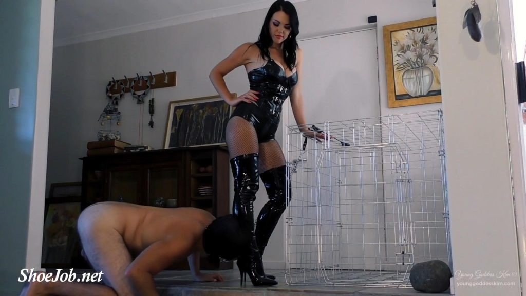 Caged Boot Bitch – Young Goddess Kim