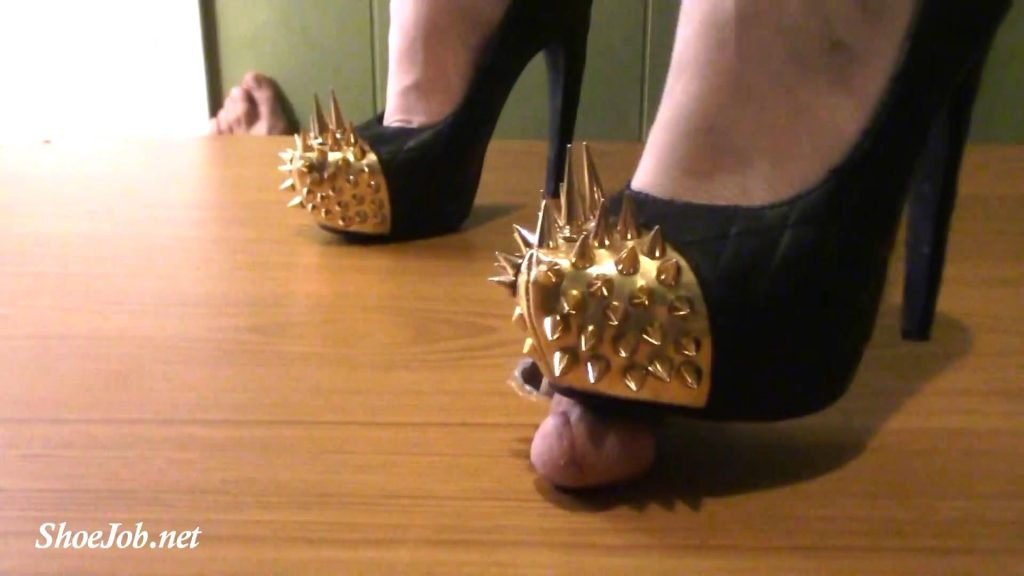 Slaves cam view of his painful cock crush and milking under my Jeffrey Campbell battle spikes! – Jewels foot fantasy gems