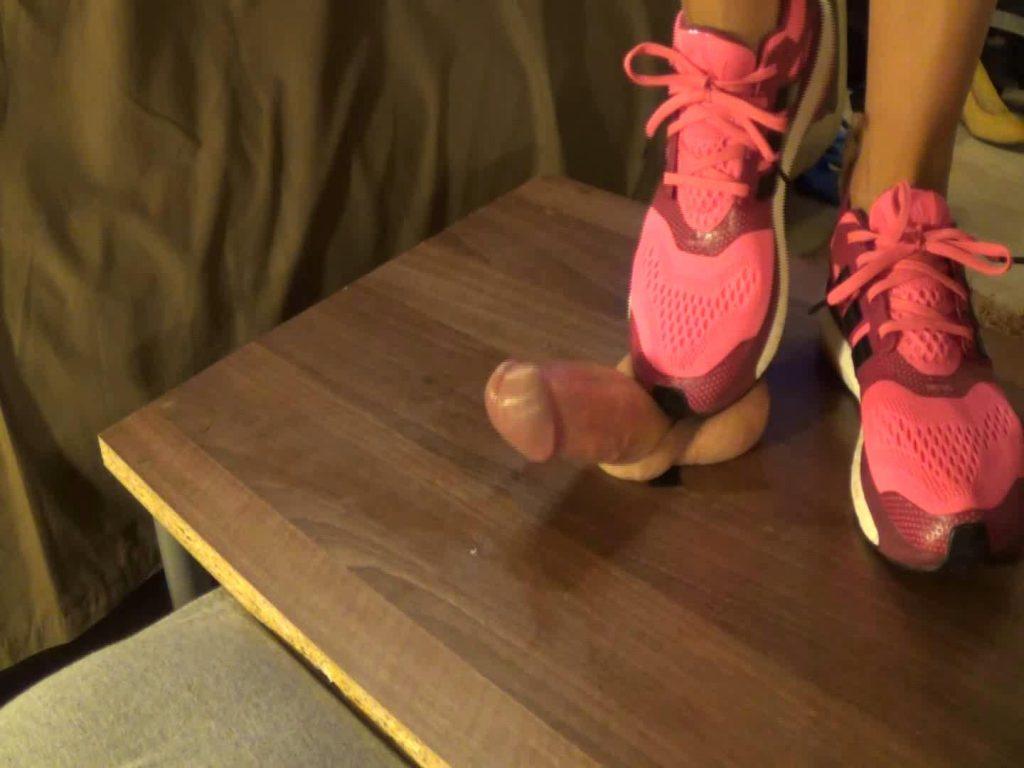 Pink Adidas energy boost 2 cockbox shoejob with cumshot – Monica