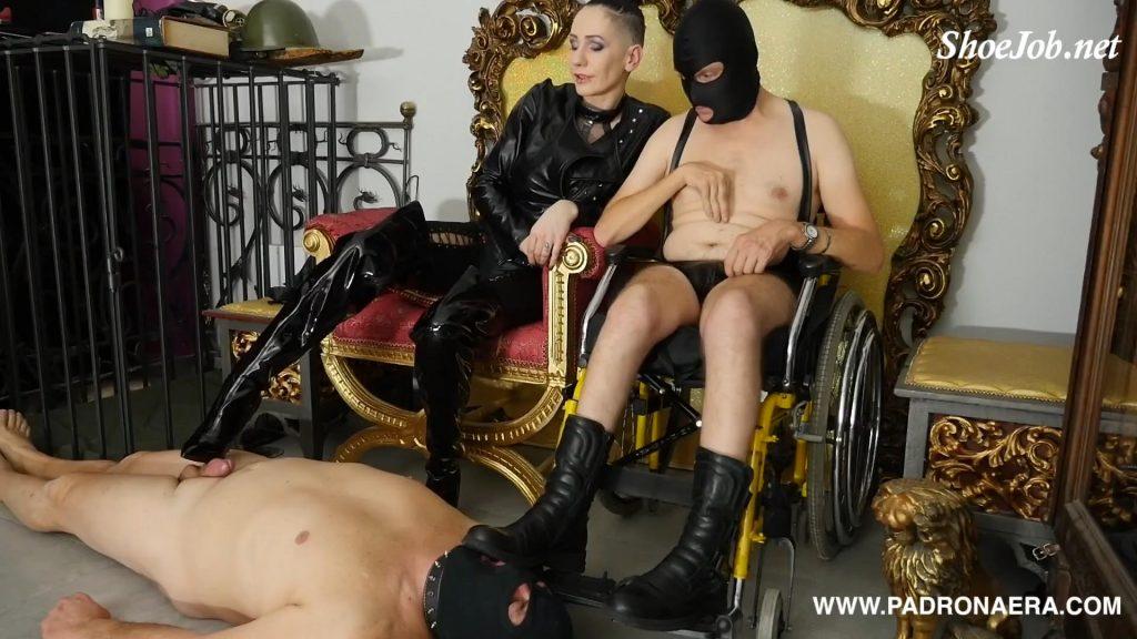 Lick Paraplegic Feet, Boot Worship On Wheelchair – Padrona Era