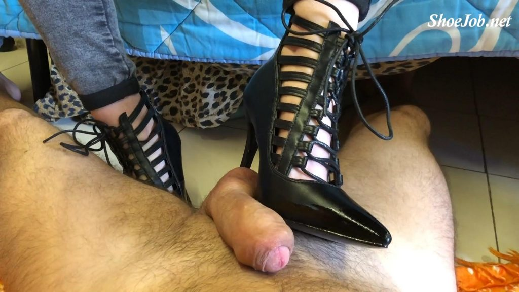 Cbt And Shoejob With Pointed Pumps With Strings And Nude Pumps By Hands – Sinner Fetish Store